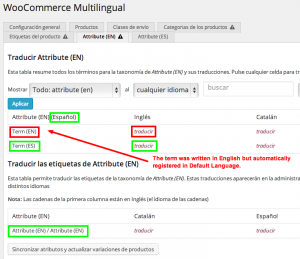 Translating global attributes in WooCommerce Multilingual