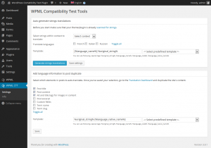 Settings page in the testing tool