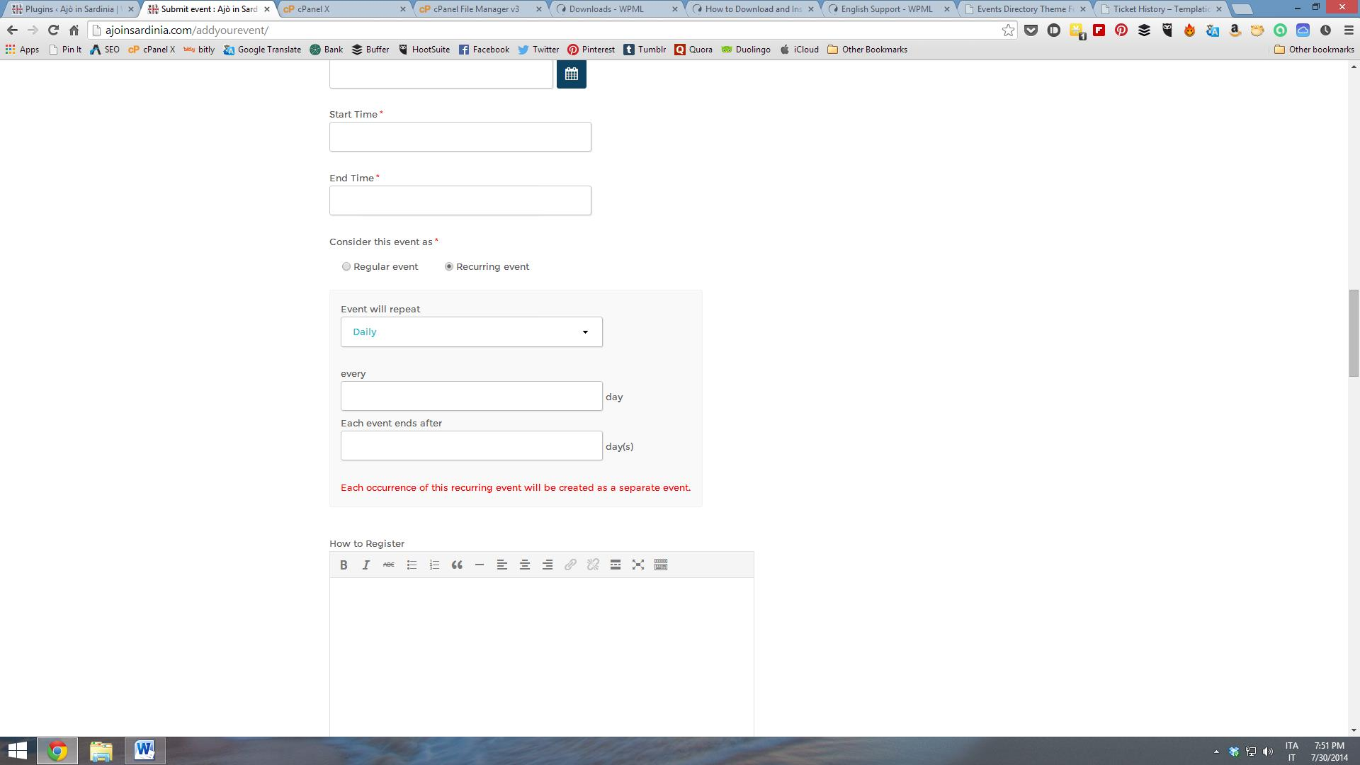 WPML causing problems with event submission form - WPML