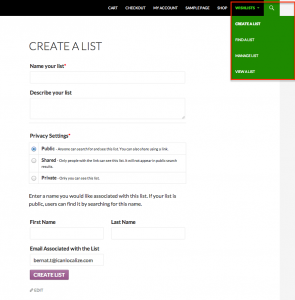 Create Wishlist