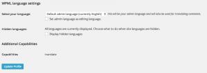 User Profile Admin Language