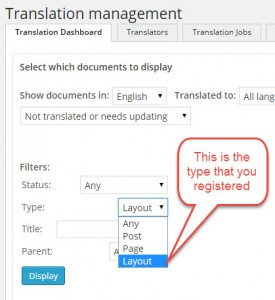 Your registered type in the Translation Dashboard