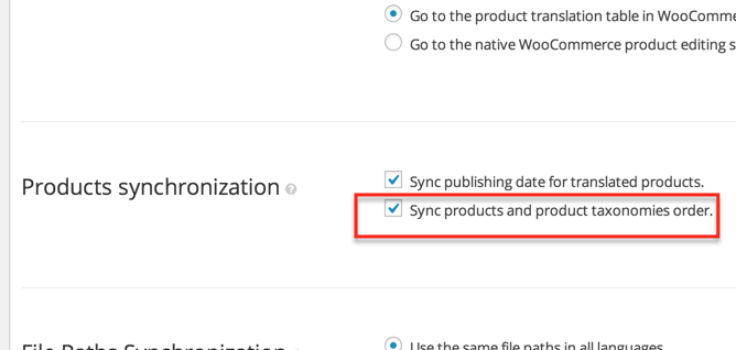 The option to synchronize products and product taxonomies display order.