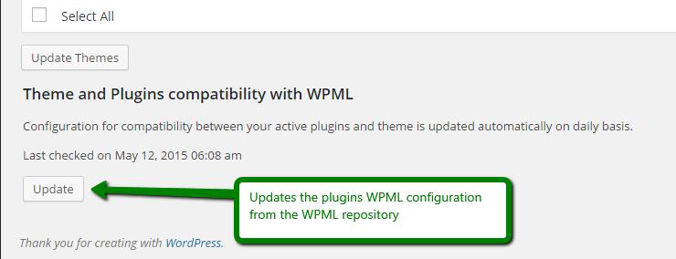 Кнопка «Обновить» в окне обновления WordPress