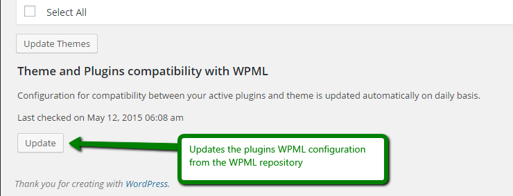 The 'update' button on the WordPress update screen