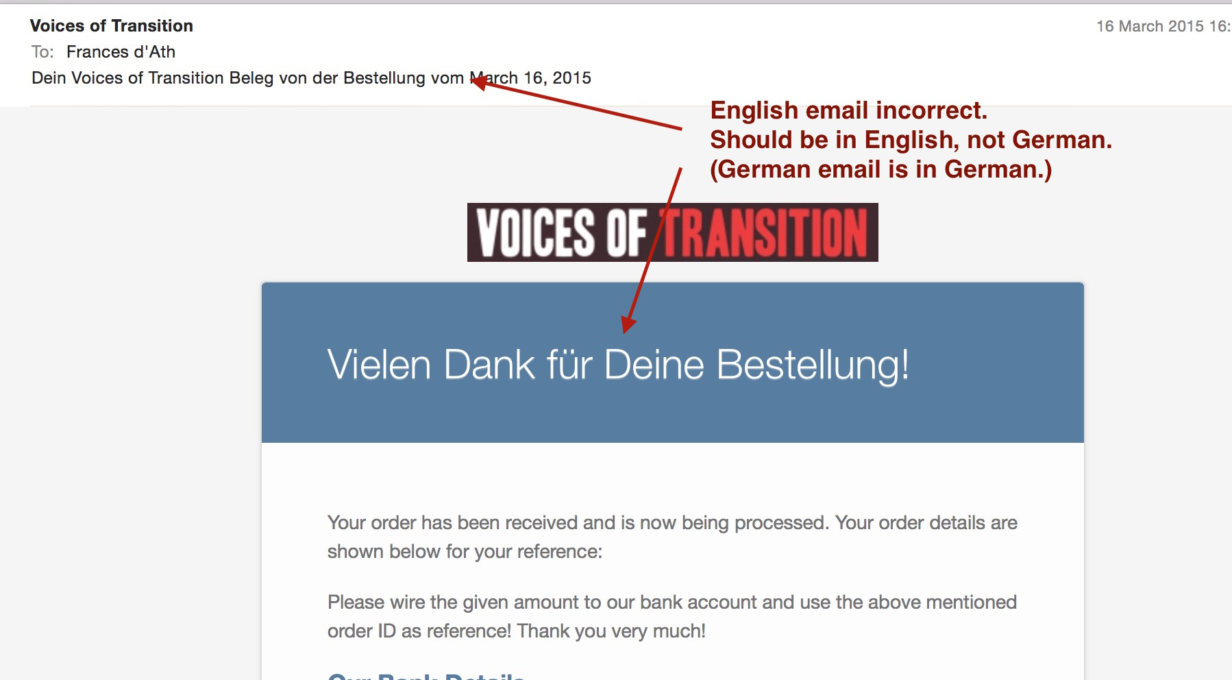 WooCommerce Order Received email strings in translated language, not ...