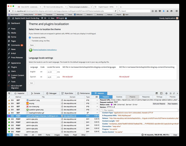 pin wp admin admin ajax php 500 internal server error #1