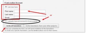 Accesso a un account ICanLocalize esistente o creazione di uno nuovo