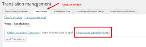 Presentazione della notifica quando un traduttore si candida per un lavoro di traduzione