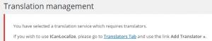 Notificación de selección de traductor