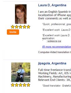 Traductores disponibles para el par de idiomas elegido