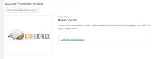 שירות תרגום ICanLocalize מופעל
