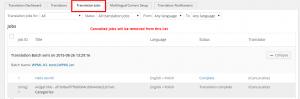 Pestaña de trabajos de traducción