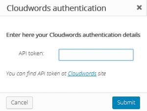 Cloudwords authentication popup