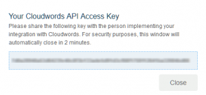 Cloudwords popup with API access key to copy