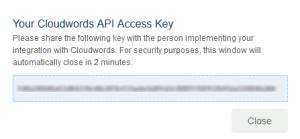 Cloudwords mostrará una ventana emergente con la clave de acceso a la API para copiar.