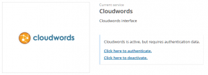 Servicio Cloudwords activo pero no autenticado aún
