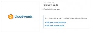 Servicio Cloudwords activo pero no autenticado aún