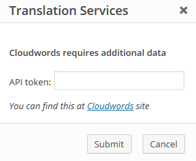 Ventana emergente de autenticación a Cloudwords