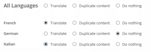 Elija los idiomas destino a los cuales desea traducir los contenidos.