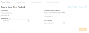 First step in the Cloudwords project configuration wizard
