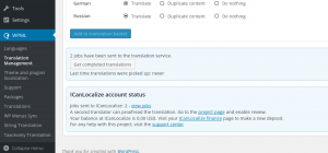 Completed jobs waiting in the Translation Dashboard