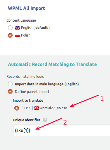 WPML All Import Match to Translate
