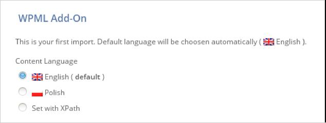 WPML All Import choose language