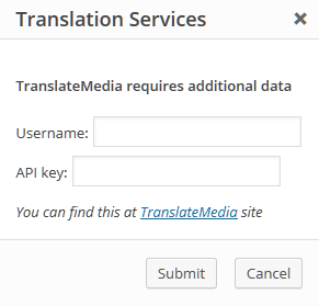 Pop-up d'authentification TranslateMedia