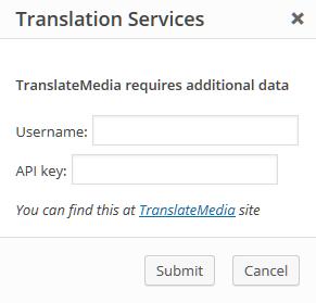 Ventana de autenticación de TranslateMedia