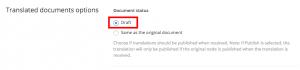 Set draft document status in WPML