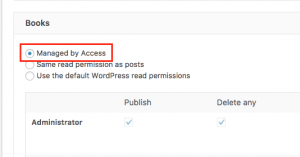Enable Access to manage Book custom post type