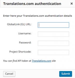 Translations.com authentication dialog window