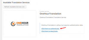 Autenticar OneHourTranslation