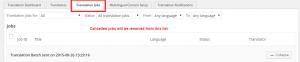 Les travaux annulés sont supprimés de l'onglet Travaux de traduction