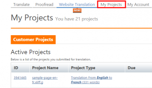 OneHourTranslation Project dashboard