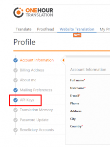 OneHourTranslation Account Profile page