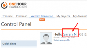 OneHourTranslation client Control Panel