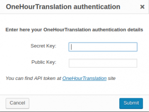 OneHourTranslation authentication dialog