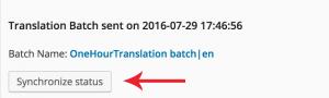 "Location of ""Synchronize status"" button"