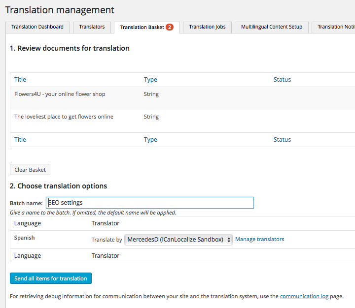 WPML Translation Basket
