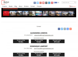 Each single property page includes a contact information