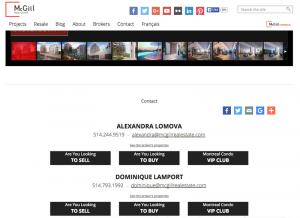 Cada página de propiedad incluye la información de contacto.
