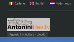 Antonini Realty está disponible en tres idiomas: italiano, inglés y holandés.
