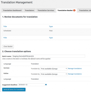 Sending items for translation