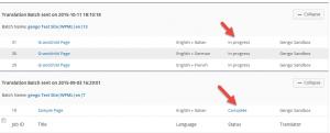 Status column with translation status