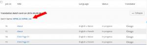 List of jobs on the Translation Jobs tab