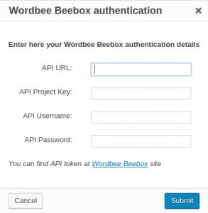 Wordbee Beebox authentication dialog window