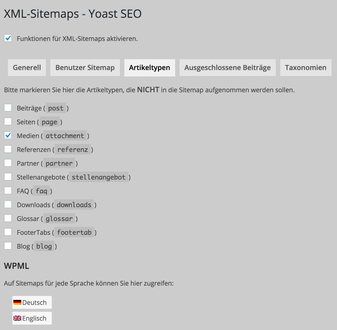wpml yoast seo sitemap exclude different custom post types per