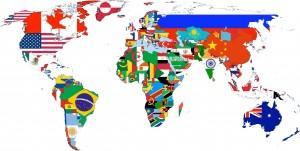 Mapa-múndi com bandeiras